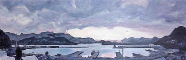 Lyttelton Harbour – acrylic on canvas, 305 x 915 mm, 2015