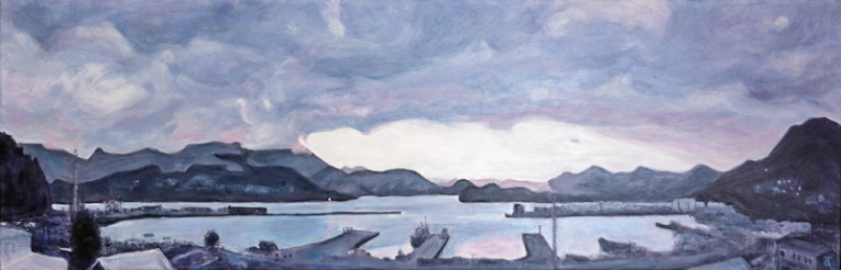 Lyttelton Harbour – acrylic on canvas, 305 x 915 mm, 2015. For sale at The Christchurch Art Show, June 2015.