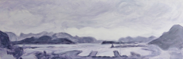 Lyttelton Harbour, WIP – acrylic on canvas