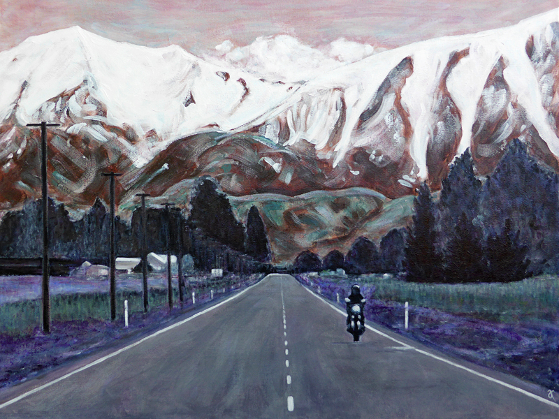 On the road again – acrylic on canvas, 455 x 610 mm, 2015