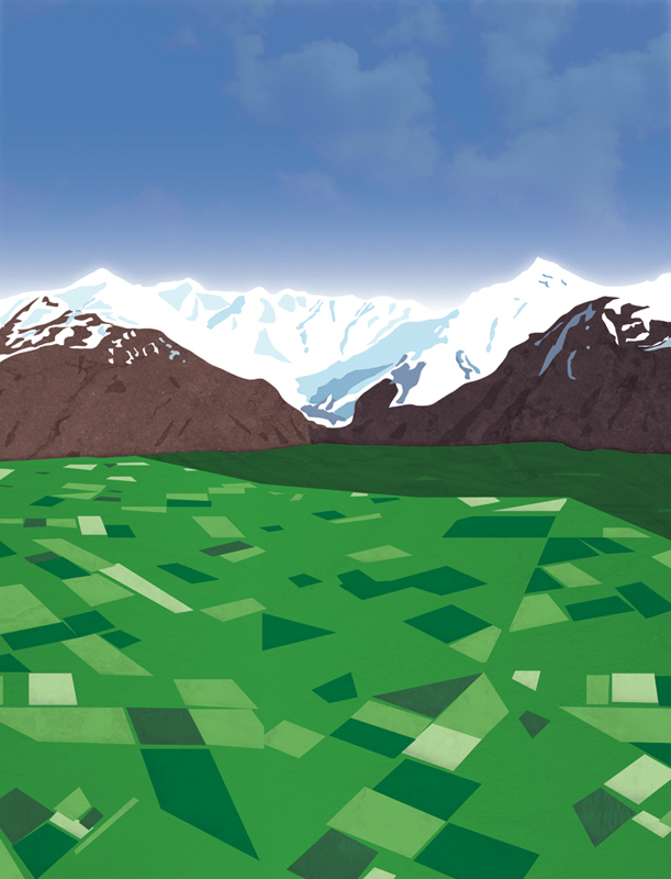 Canterbury poster background – original digital illustration, 2011