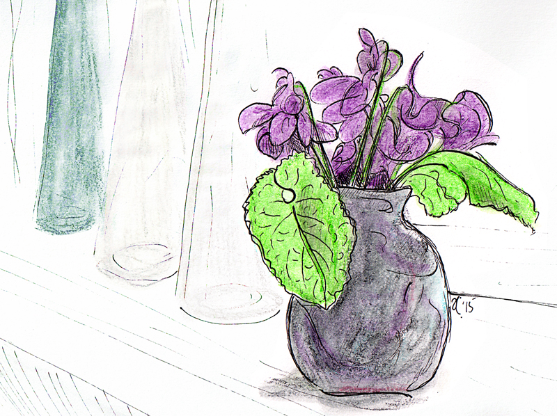 Violets — ink, watercolour and digital, 2015