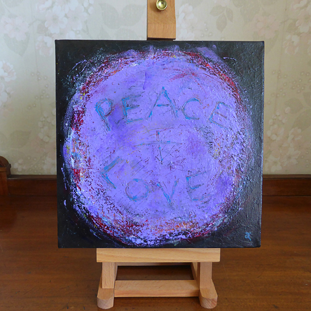 Peace and Love — acrylic on canvas, 255 x 255 mm