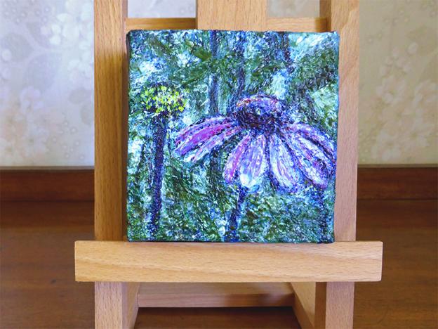 Purple Garden — acrylic on canvas, 102 x 102 mm