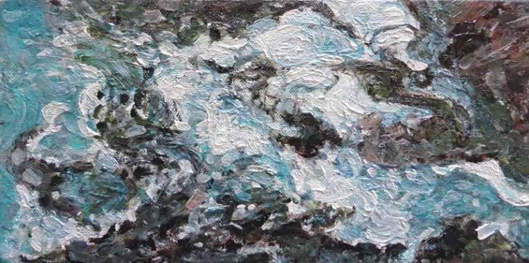 Ebb and Flow – acrylic on canvas, 150 x 305 mm, 2015