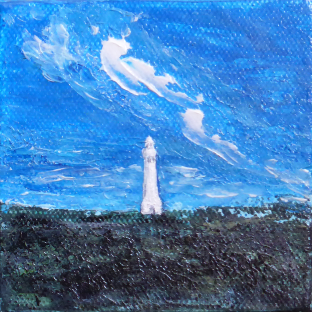 Lighthouse — acrylic on canvas, 102 x 102 mm