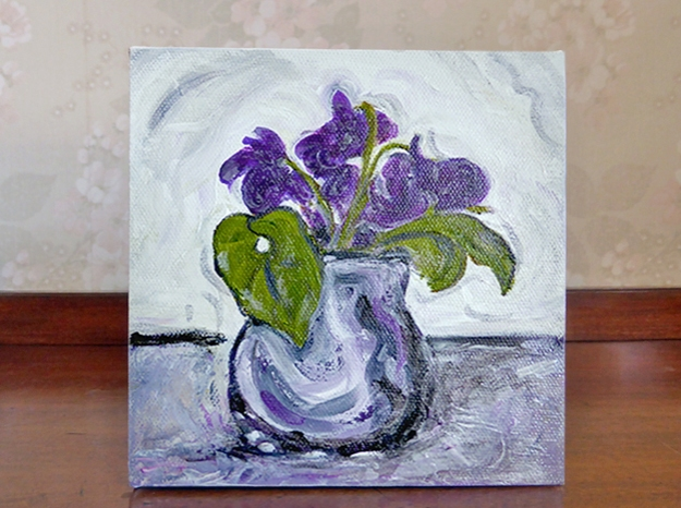 Violet Study — acrylic on stretched canvas, 150 x 150 mm