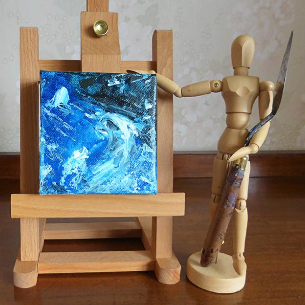 Bluescape — acrylic on canvas, 102 x 102 mm