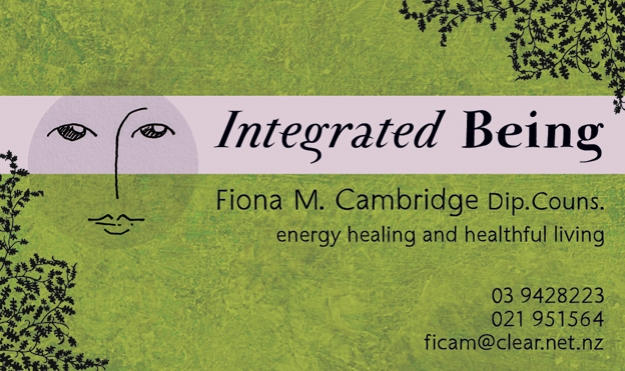 Integrated Being business card © 2013 Fiona Cambridge