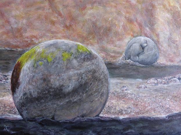 Moeraki Boulders (Two) — acrylic on canva,s 305 x 405 mm