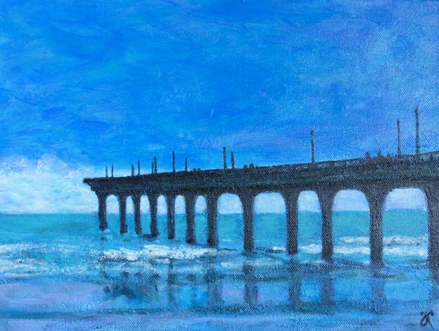 New Brighton Pier, Christchurch – acrylic on canvas, 230 x 305 mm, 2014