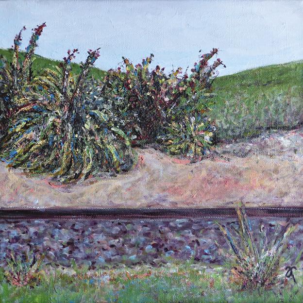 Sidetracked — acrylic on canvas, 305 x 305 mm