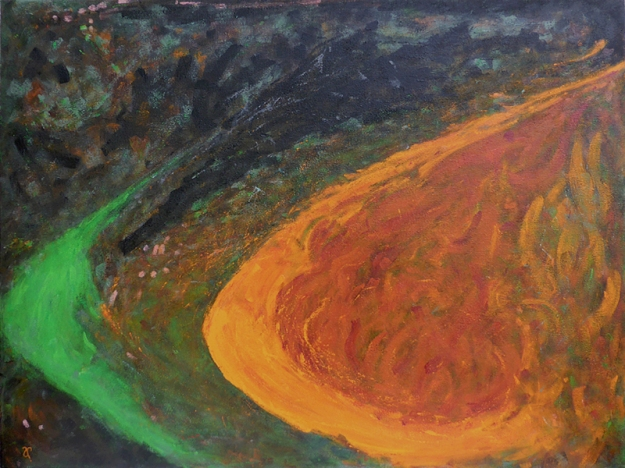 Catching Fire (private commission) — acrylic on canvas, 75 x 100 cm, 2015