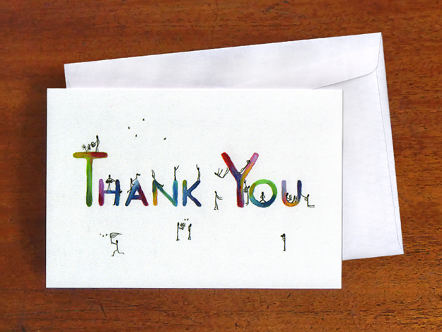 Thank You — original illustration and now a note card design