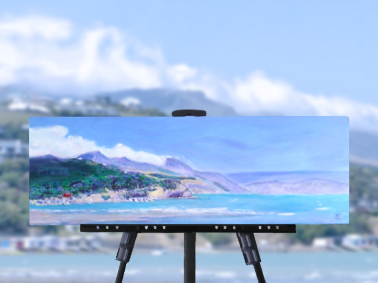 'Boatsheds' (10 x 30 inches), the Banks Peninsula coastline and boat sheds along Duvauchelle Bay near Akaroa, NZ