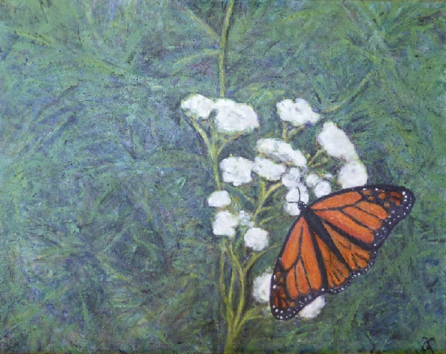 Monarch – acrylic on canvas, 405 x 510 mm, available at The White Room's Art + Auction in 18 November 2016