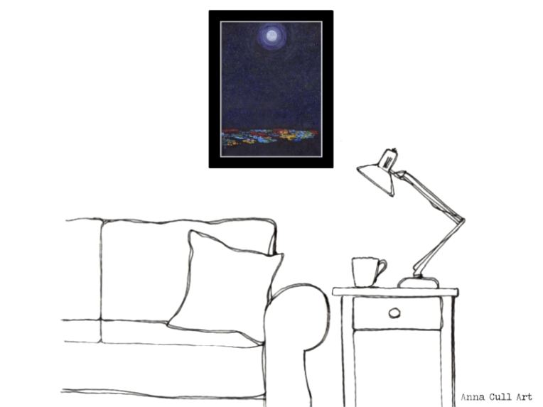 'Moon Over the City' (16 x 12 inches, unframed), living room illustration