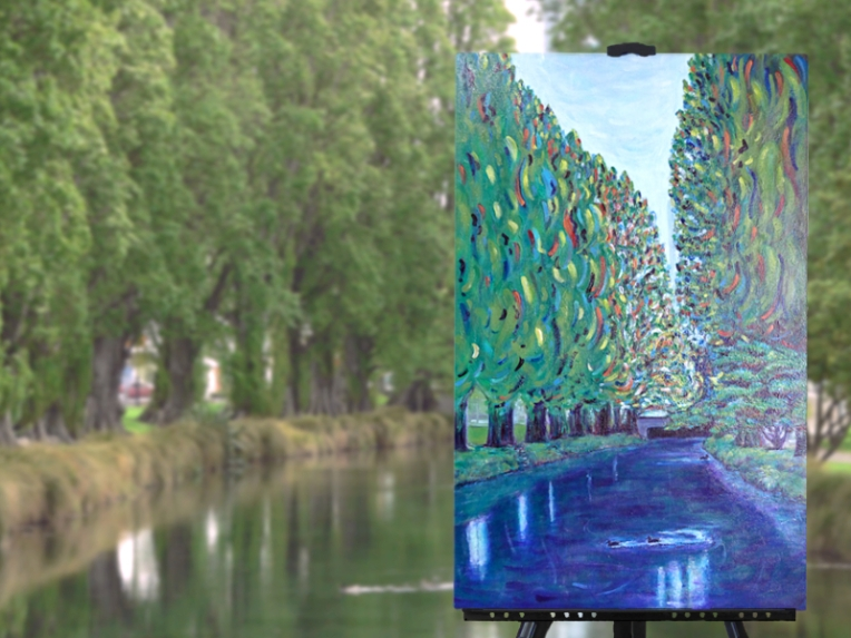 'Thursday, Avon River' (30 x 20 inches), ducks swimming on the Avon River in Christchurch, NZ