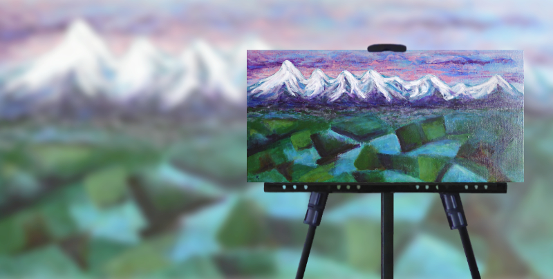 Original painting of snow-covered mountains, sunset & plains by Anna Cull, annacullart