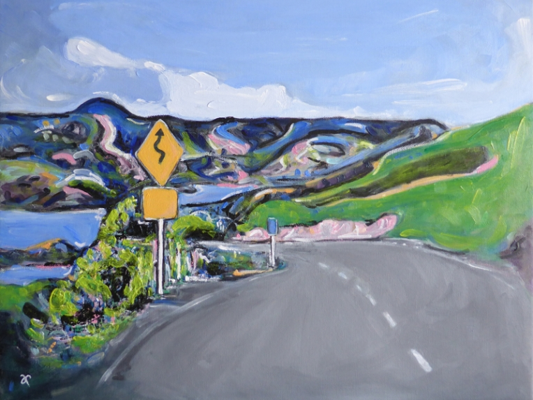 Curves Ahead – acrylic on canvas, 400 x 505 mm, 2016. Available for purchase.